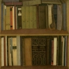 A big bookshelf, 1989, coloured pencils on paper, 104x104 cm