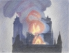 NOTRE-DAME DE PARIS BURNS N°6, 2019, coloured pencils on paper, 50 x 65 cm