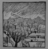 Small Moscow in winter, 1967-68, linocut, 33.5x31.5 cm