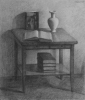 Still-life with books, 1972, pencil on paper, 48x40,5 cm