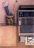 Still-life with brushes and radio, 1983, coloured pencils on paper, 74x52 cm